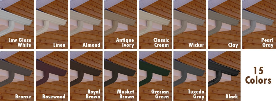 Our Cur Stock Colors Available In 5 Inch And 6 Gutters 2 3 4 Downspouts